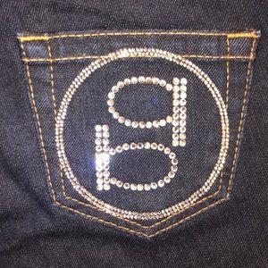 BEBE Jeans Madison Icon Rhinestones 28x33.5 $185
